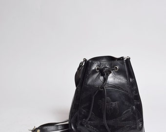 Vintage 90's Black Leather Small Shoulder Bag with Embossed Horse Design