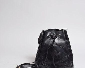 Vintage 90's Black Leather Small Shoulder Bag with Embossed Horse Design