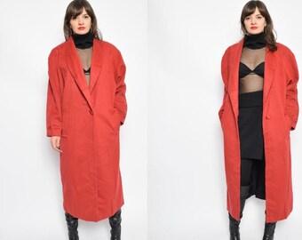 Vintage 80's Brick Red Wool Oversized Coat / Maxi One Button Coat - Size Medium