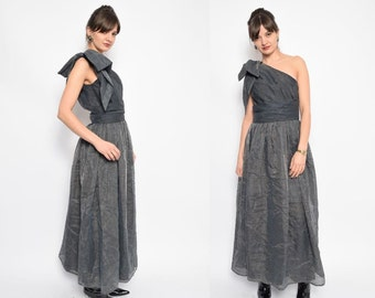 Vintage 80's One Shoulder Maxi Dress / Grey Metallic Pleated Maxi Dress / Bow Shoulderless Evening Dress - Size Extra Small