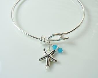 Cute Starfish Wire Bangle Charm Bracelet - with Swarovski Beads