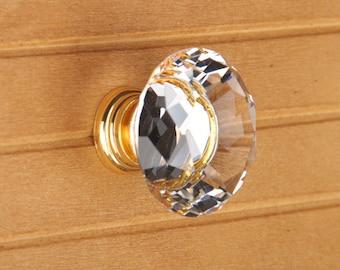 Crystal knobs  Glass Knobs  Dresser Knob Drawer Knobs Pulls Handles Gold Clear Kitchen Cabinet Knobs Sparkly Shiny Furinture