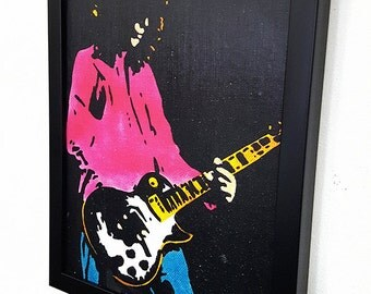 Jimmy Page RETRO  - Framed Wall Art Giclee Canvas Mixed Media Paint, Painting, Poster, Print