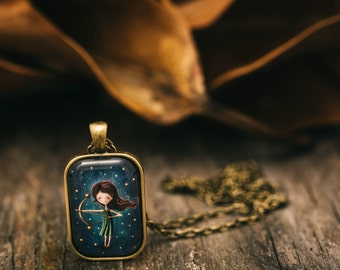 FREE WORLDWIDE SHIPPING - Astrology StarSign Sagittarius Star Sign Necklace - Bronze - Girl - Quirky - Unique
