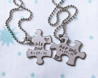 Her One, His Only, Couples Jewelry, Couples Necklace Set, Deployment, Military Wife, Military Spouse, Valentines, Hand stamped