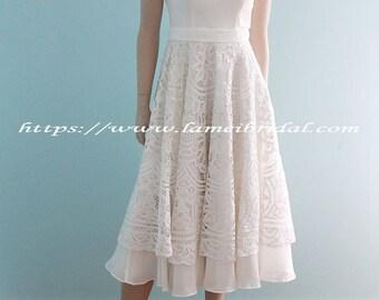 Custom Tea Length Low Back Battenburg Lace Wedding Dress
