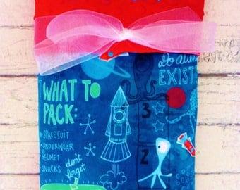Personalized Alien Minky Baby Blanket, Designer Minky Baby Blanket, Aliens, Spaceships and Outerspace
