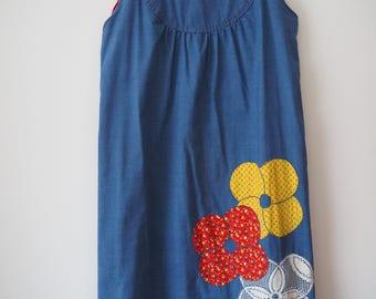 70s flower appliqué Evelyn Pearson smock mini dress M