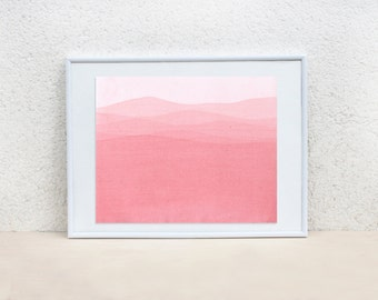 Coral pink painting. Minimalistic painting. Minimal art. Pink Sea painting. Watermelon pink painting. Original Watercolor Painting. 8x10