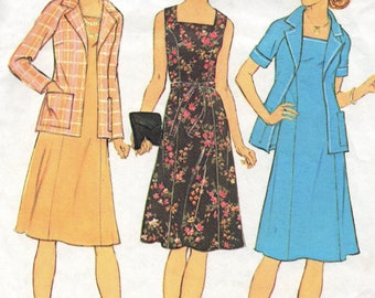 7388 Simplicity Sewing Pattern Princess Seamed Dress & Jacket Choice Sleeves Size 40 42 Vintage 1970s 44B 46B