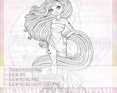 Unicorn Girl UNCOLORED Digital Stamp Image Adult Coloring Page jpeg png jpg Craft Cardmaking Papercrafting DIY