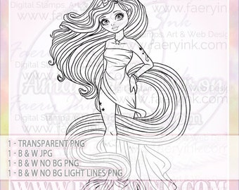 Birthday Fairy Cupcake Girl Uncolored Digital Stamp Image
