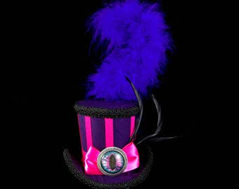 Cheshire Cat Inspired Pink, Purple, and Black Striped Medium Mini Top Hat Fascinator, Alice in Wonderland, Mad Hatter Tea Party, Derby Hat