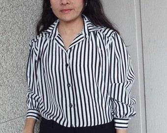 Lady Diplomat Black & White Stripe Blouse - Medium