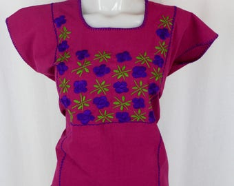 Hand Embroidered Multicolor Mexican Huipil on Manta/100% Cotton- Purple- BOHO-Hippie- Maria- Frida Kahlo Fashion