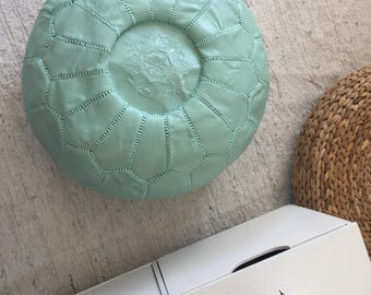 Light Mint Moroccan Pouf-Nursery Foot stool Pouf Ottoman-Nursery Decor-Moroccan Leather Ottoman-Kids Furniture  Bean Bag Chair-Boho Decor