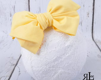 Yellow Bow - Yellow Headband - Yellow Clip - Faux Headwrap Bow