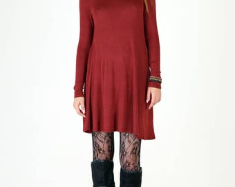 Ultra Soft Wine Red Jersey Fit and Flair Swing Dress
