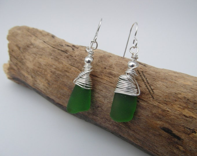 Featured listing image: Cornish Sea Glass Dangle Drop Earrings ~ Bright Green  ~ Sterling Silver ~ Cornwall