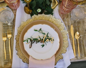 """Personalized Laser Cut Acrylic Gold Mirror Place Card Name Sign - (ONE) 7"""" x 2"""" Custom Modern Calligraphy Wedding Table Setting Seat Sign"""