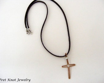 Guitar String Necklace - Cross Jewelry - Leather Necklace - Musician Gift