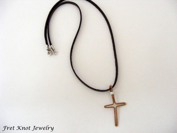 guitar string necklace cross jewelry leather necklace. Black Bedroom Furniture Sets. Home Design Ideas