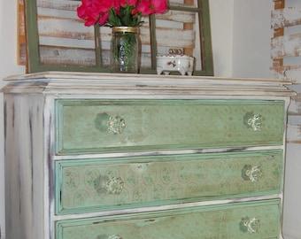 Green and White Shabby Chic Dresser
