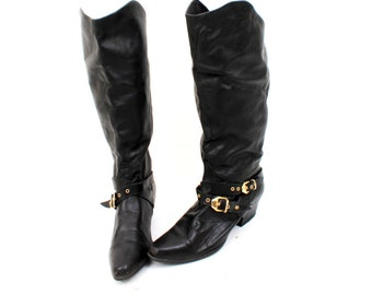 80's Western Boots / Black Leather Boots / Tall Boots / Gold Buckle Boots / Women Boots / Low Heel Boots  EU38 UK5 US7'5