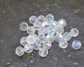 50 Clear Crystals AB Coating 6mm Round Faceted Crystals