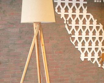 SALE!!! Handmade Wood Tripod Floor Lamp, Midcentury Modern Lamp, Twisted Tripod floor lamp, Tripod Light, Adjustable Floor Lamp