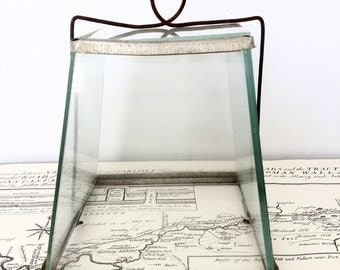 Vintage Wire and Glass Cloche, Old Terrarium, Small Glass Garden Cloche, Vintage Garden Tools
