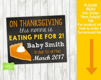 Thanksgiving Pregnancy Announcement Sign - Printable Pregnancy Announcement Sign - Digital Chalkboard Sign - Pregnancy Reveal Sign