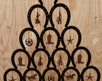 Rustic Horseshoe Christmas Tree WITH ornaments - Rustic, Cowboy, Western - Authentic Horseshoes