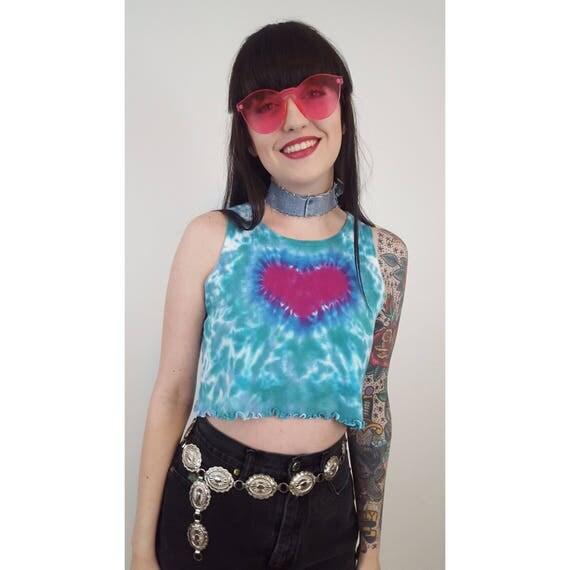 90's Tiedye Crop Top Small - Blue Pink Tie Dye Cropped Tank - Spaghetti Strap Tie Dyed Heart Grunge Sleeveless Tank Top