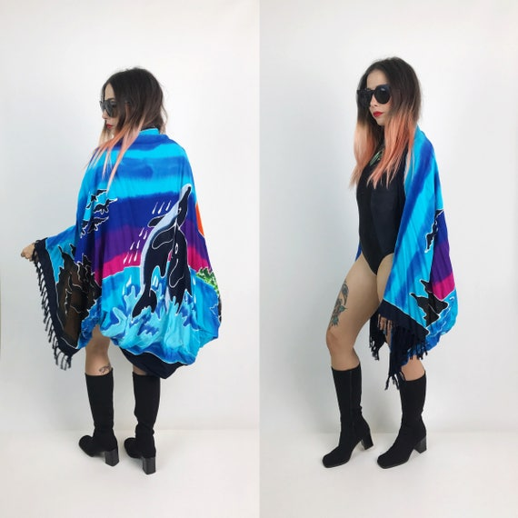 Remade Beach Cover Up Layer Top with Fringe - Vintage One of a Kind Dolphin Beach Cover Up  - Free Size Slouchy Open Kimono Cover Pool Top