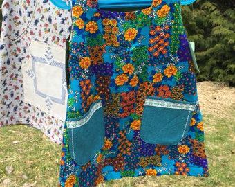 Vintage floral fabric velvet lace trim handmade tunic Jumper dress 2 - 3