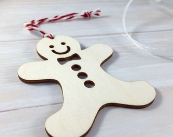 Wooden Gingerbread Man Christmas Tree Ornament / Decoration