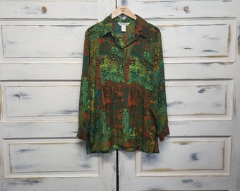 Vintage 70s ladies womens blouse top shirt; Beverly Rose USA, Size XL; avacado green, harvest gold