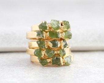 green peridot ring | raw peridot stacking ring | august birthstone jewelry | august birthstone ring | raw stone ring | rough peridot ring