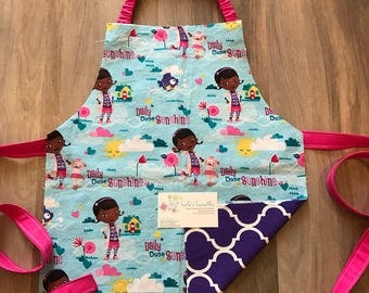 Toddler doctor apron, made from licensed fabric.