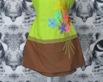 60s Floral Applique Swim Top by DeWeese / L / XL