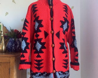 Vintage Red Najavo Knit Cardigan Sweater / One Size