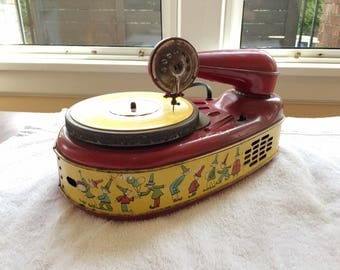 Red Childrens Phonograph 78rpm Spear M400 Working w Records, Needles