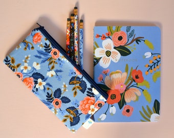 Pretty Pencil Case, Pen Bag, Gift for Teacher, Handbag Organizer Art Supply Storage Blue Zipper Pouch Rifle Fabric Zip Bag Floral Zipper Bag