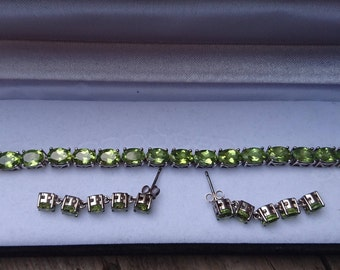 Reserved Sterling silver peridot bracelet with matching earrings