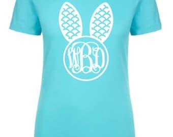 Easter shirt for women, monogram bunny shirt, easter tee, monogram short sleeve tee, bunny shirt, womens Easter shirt, monogram tshirt