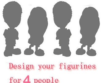 Bespoke Personalised wedding cake topper for 4 & 3D doll  (Free shipping)