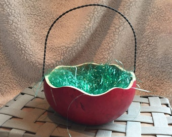 Easter Basket Gourd, Medium Size, Metal Handle, Red Stain