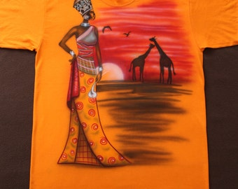 """Airbrushed, T-Shirt, Africa African Woman Giraffe Landscaping, New!!! """"S"""" Unique"""