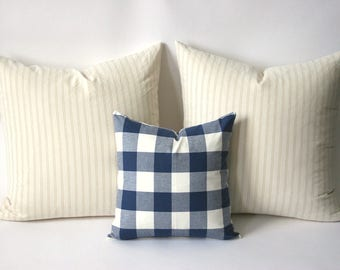 11 Sizes Available: One Buffalo Check Plaid Zipper Pillow Cover Cadet Blue and Cream Woven cotton cushion cover